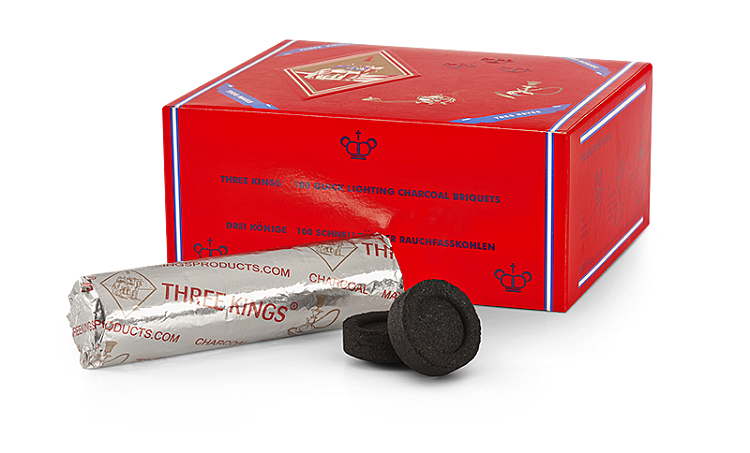 Three King- Pack of 100 x 33 mm charcoal Tablets (for incense/Shisha)