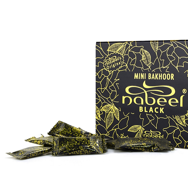 Mini Bakhoor Black Incense by Nabeel 108gm (Box of 36 x 3gm)
