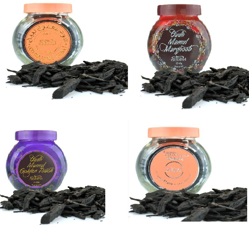 Assorted 4  x 40gm Nabeel Oudh: Oudh Mabsoos, Golden Touch,  Mamul Nabeel, Mamul Marghoob