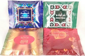 Bukhoor Incense Tablet from Haramain  4 mix pack- 1 of each Bakhoor HANEEN, SEDRA,  SHEIKHA and AL WATANI